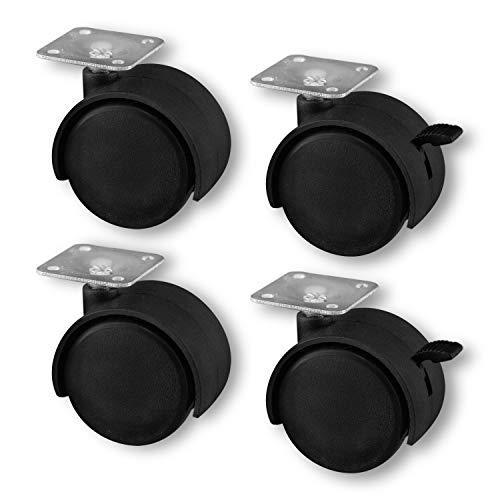 Nirox 4x Möbelrollen im Set - 50mm (2x Bremse) - keine Laufspuren, 360 Grad rundum drehbar - 60mm Gesamthöhe - bis 120kg