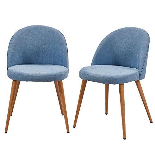 Black/Blue/Mustard Yellow Fabric Cover Accent Dining Chairs Set of 2 Retro Wood Style Sturdy Metal Legs Kitchen Lounge Room Office Furniture Designer Cushion (Blue)