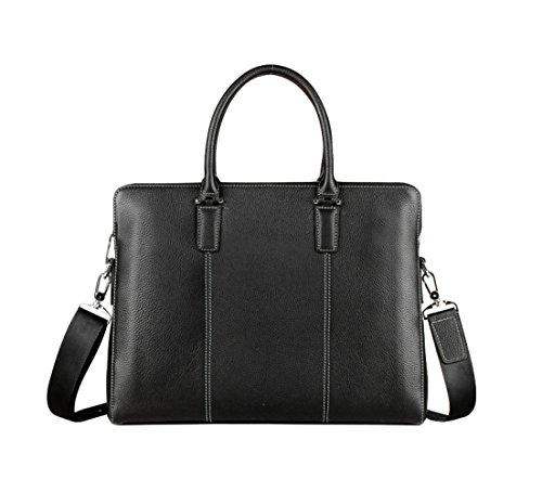 Preisvergleich Produktbild AEMAX,  Herren-Ledertasche,  Aktentasche Aus Leder,  15-Zoll-Notebook-Macbook-Tablet-Tasche, Black-OneSize
