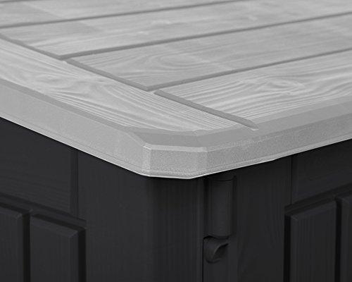 Keter Woodland 30 Mülltonnenbox anthrazit Gartenbox Midi Gerätebox abschließbar für 2 Mülltonnen - 6
