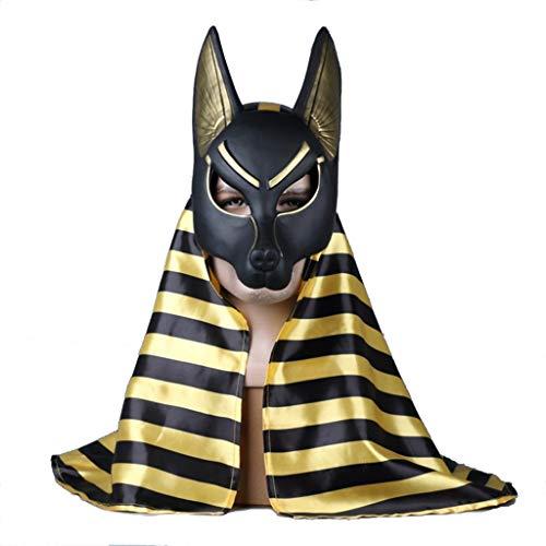 SDKHIN Death Anubis Plastikmaske Cosplay Kostüm Weihnachten Halloween Maskerade Ball Party Masken,Black-OneSize