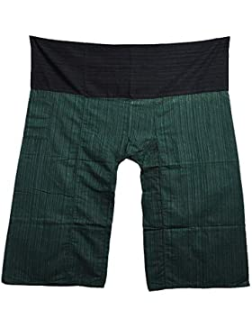 Mr.Bangkok 2 Tone Thai Fisherman Pants Yoga Trousers Free Size Plus Size Cotton Drill Striped Black and Green