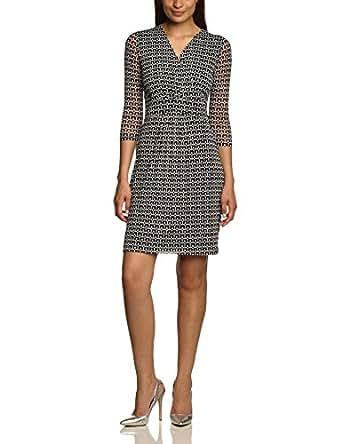s.Oliver BLACK LABEL Damen Kleid, 11.404.82.8325 , GR. 44 (Herstellergröße: 44), Mehrfarbig 59A7 (Schwarz/ Weiss)