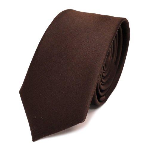 TigerTie - corbata estrecha - marrón marrón oscuro color-chocolate monocromo - 100% poliéster