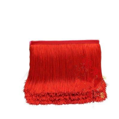 Yalulu 10 Meter Länge 15cm Breite Quaste Seidig Fransen Geschnitten Fransenborte Kostüm Quaste trimmen Garment Apparel Spitzenborte Nähzubehör (Rot)