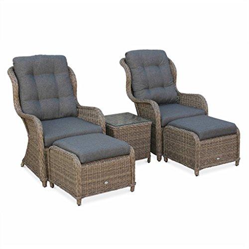Alice's Garden - Lot de 2 fauteuils Relax en résine tressée Arrondie avec Repose Pieds et Table Basse - Barletta Naturel - Aspect rotin, Coussins Gris Anthracite, chaises, Structure Aluminium