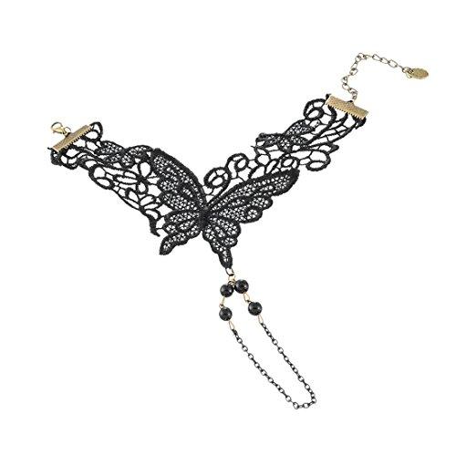 MJARTORIA Femme Bijoux Collier Choker Ras de Cou Dentelle Chaine Victorien Gothique Mariage Pendentif Strass Vintage