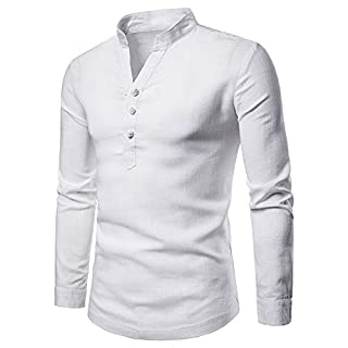 Men Long Sleeve Tops HEHEM Men's Long Sleeve Autumn Winter Linen Henry Large Size Casual Top Blouse Shirts Long Sleeve Shirts T-Shirt Polo Shirts Polo Sweatshirt T-Shirt Top