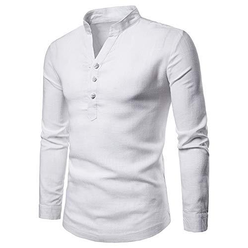 Oliviavan,Herren Langarm Herbst Winter Leinen Henry Large Size Casual Top Bluse Shirts Herren Basic Kapuzenpullover Sweatjacke Pullover Hoodie Sweatshirt O Neck Basic Sweater