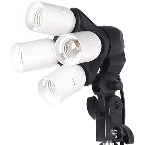 Andoer® 4 en 1 E27 Base Socket Adaptador Sostenedor de Luz de la Lámpara Bombilla para Estudio Fotográfico Softbox (4 en 1 base de bombillas)