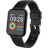 JTY Montre Connectée Smartwatch Tracker d'Activité IP67 Étanche Smartwatch Bracelet Bluetooth Podomètre avec Moniteur de Sommeil/Compteur de Calories pour Android iPhone,Black