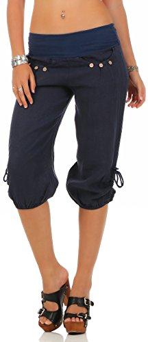 malito Damen Capri Hose aus Leinen | Stoffhose in Unifarben | Freizeithose für den Strand | Chino – kurze Hose 6302 (dunkelblau, M) (Damen-capri-hosen)