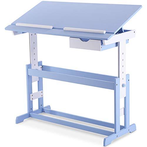 COSTWAY Kinderschreibtisch Kindermöbel Kinderzimmer Kindertisch Schreibtisch Schnülerschreibtisch Computertisch Bürotisch neigungsverstellbar höhenverstellbar Farbewahl (Blau)