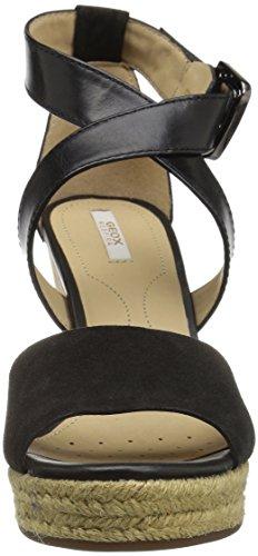 Geox Donna Janira E, Sandales Bout Ouvert Femme Noir (BLACKC9999)