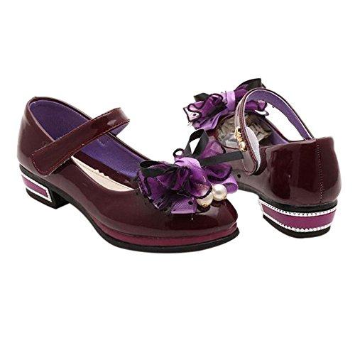Meijunter Enfants Kids Filles Candy Color Bowknot Shallow Mouth Plat Princesse Chaussures purple