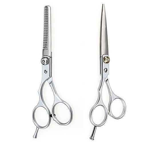 Vococal® 2 Pcs Acier Tungstène Barber Cheveux Ciseaux de Coupe et Amincissement Ciseaux Coiffure Jeu