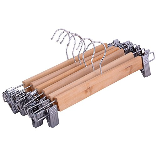 AND Retails Set of 6 Wooden Closet Wardrobe Hanger / Dryer with 2 Clips - For Shorts, Skirts, Shirts, Trousers, Scarves, Clothes