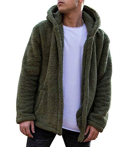 Carolilly Herren Teddy-Fleece Jacke mit Taschen Warm Plüsch Mantel Hoodie Sweatshirt Outwear (L, Grün) - Grüner Pullover Warme Jacke