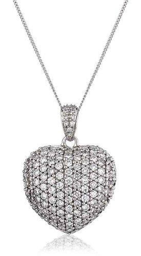 1.45CT Certified G/VS2 Pave Heart Shape Diamond Pendant in 18K White Gold