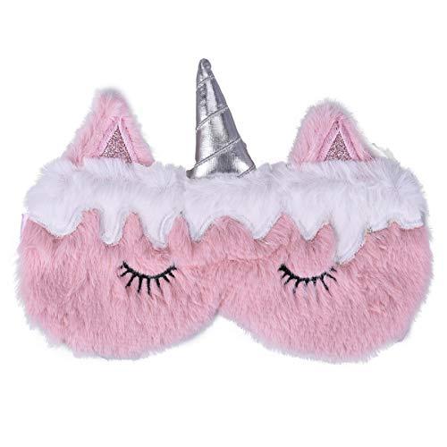 Ulife Mall Schön Einhorn Schlafmaske Seide Plüsch Augenbinde, Schlafmaske Augenmaske Augenabdeckung für Mädchen Jungen Frauen Männer Kinder Zuhause Schlafen Reisen (Rosa)