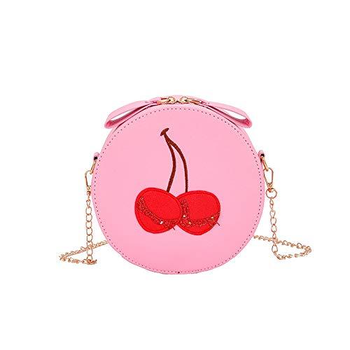 FREEML 2019 Neue süße Mädchen Kette PU europäischen und amerikanischen Mode Kirsche kleine Tasche Umhängetasche Runde Trend Handtasche -