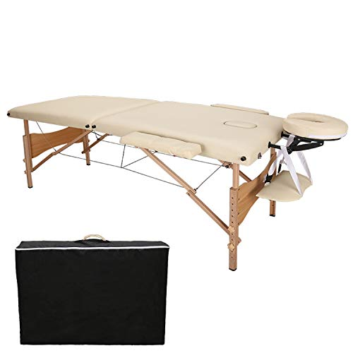 Hengda Mobile Massageliege Therapie Massagetisch Massagestuhl Hochwertiger 2 Zonen klappbar mit Kopfstütze Hölzernen Füßen Höhenverstellbaren Buche Beige inkl. Tasche für den Profi oder Heimbedarf