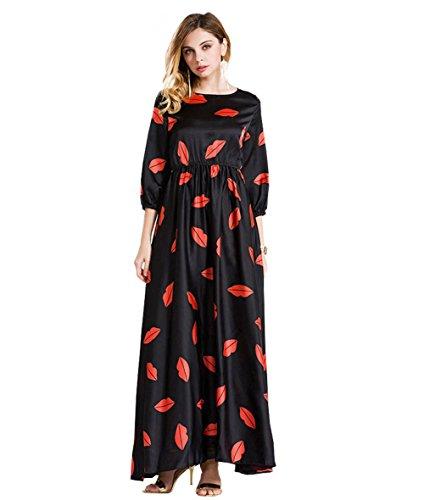 ou-grid-robe-trapze-manches-3-4-femme-noir-x-large