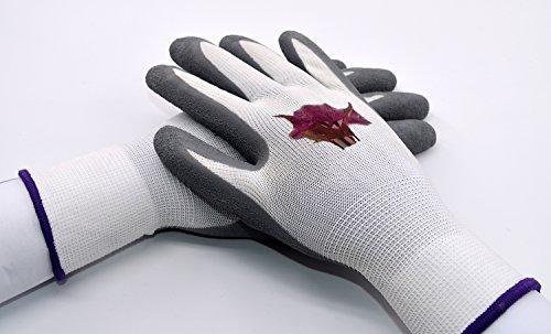 Gartenhandschuhe Arbeitshandschuhe Handschuhe Rutschfeste Montagehandschuhe Nahtlos mit Vollfinger Latexkratzer Beschichtung, 1 Paar,Größe:9(L) Weiß