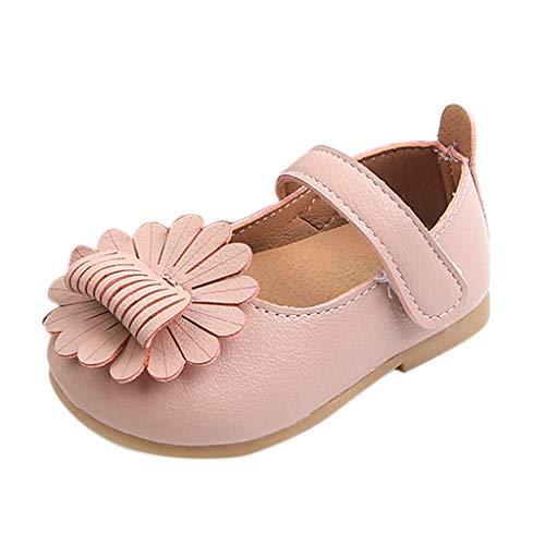 Mymyguoe Babyschuhe Flache Sandalen für Mädchen Prinzessin Party Schuhe mit Elegant Blume Geschlossene Ballerinas Kleinkind weichen Sohlen PU Leder Einzelne Schuhe Mary Jane ()