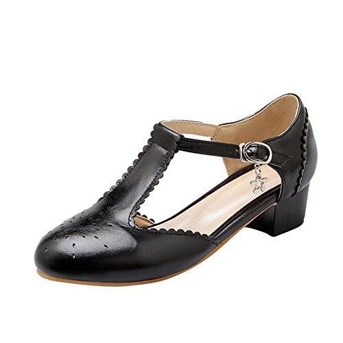 Mee Shoes Damen Süß Modern Bequem Dicker Absatz Geschlossen Runde Toe t-Strap mit Spitzen Schnalle Pumps (35, Schwarz)