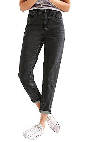 Ecupper Women High Waist Boyfriend Trousers Straight Leg Mom Jeans