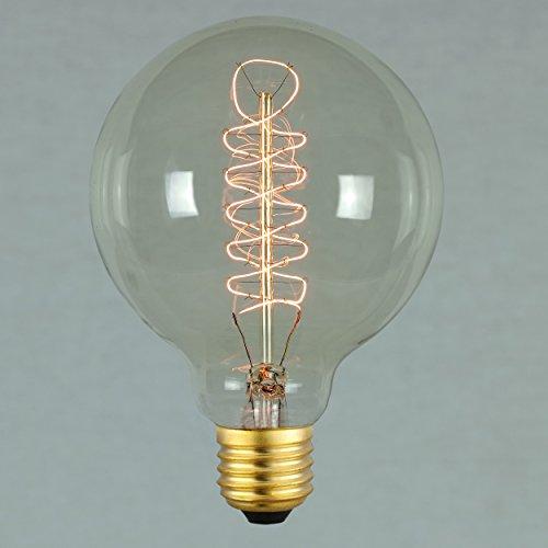60 Glühbirnen Globe Watt (Vintage Retro Edison Glühbirne 60W E27 – Vollständig Dimmbar Spirale Glühfaden Globe 95mm - The Retro Boutique ®)