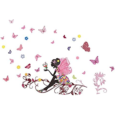 Rose-Summer coloridas Flores Hadas Mariposa Chicas Vinilo Removible Pared Sticker Decal Mural Cita de Etiqueta Arte Decoración Habitaciones Hogar