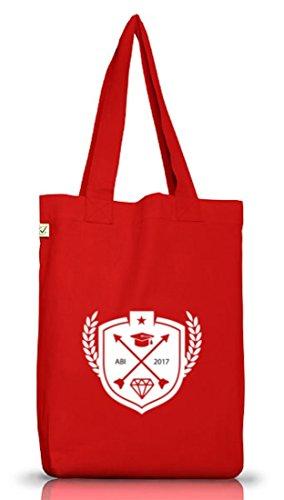Abschluss Abitur Jutebeutel Stoffbeutel Earth Positive mit Wappen Abi 2017 Motiv Red