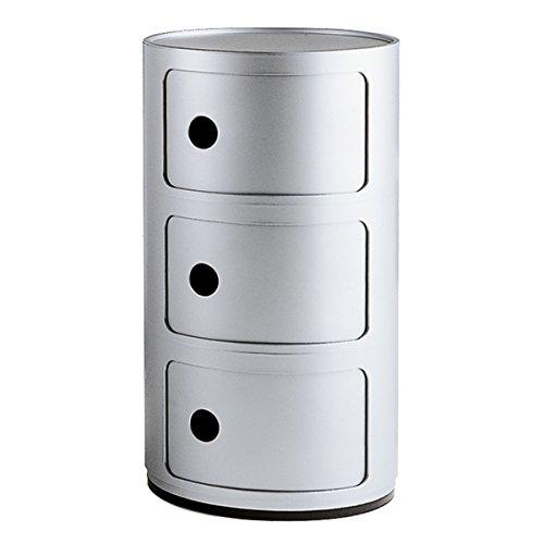 Kartell Componibili Round Storage Unit 3 Drawer Silver