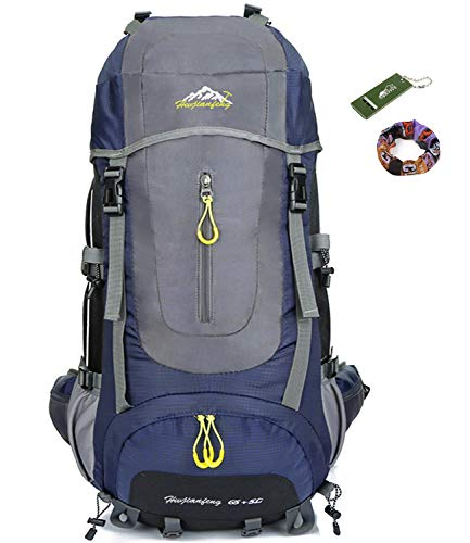 Onyorhan 70l travel backpack trekking hiking mountaineering climbing camping rucksack for men women (blu navy)