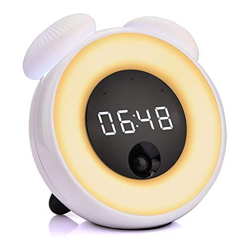 Intelligente Uhr, GFEU USB-Smart-Sensor, Wecklicht mit menschlichem Körpererkennung, FM-Radio, Naturgeräusche, Nacht-Sensor Uhr für Kinder Art Deco blau