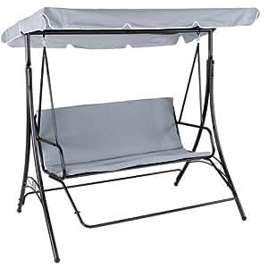 Balancelle de jardin terrasse fauteuil balançoire exterieur relaxation 3 places, gris