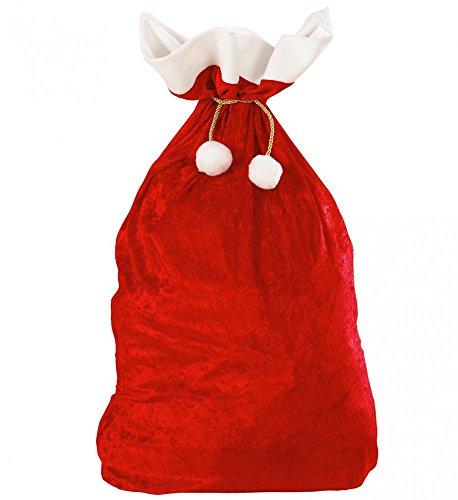 shoperama Weihnachtsmann Sack aus SAMT 60 x 100 cm Weihnachten Nikolaus Santa Claus groß