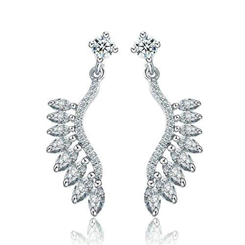 AnaZoz Gioielli Donna Orecchini Fantasia Oro Bianco Foglia Earrings Studs Argento Rhinestone
