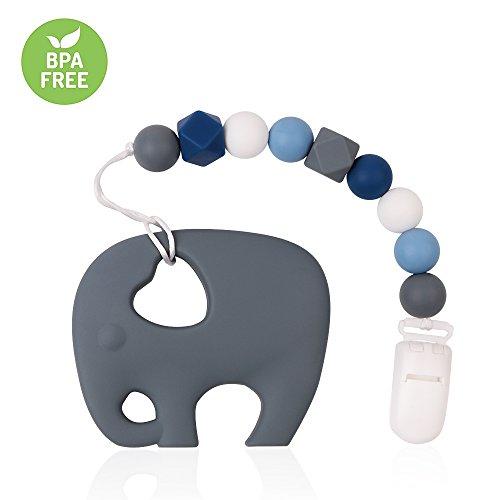 TYRY.HU Kinderkrankheiten Dummy Clip Silikon Elefant Beißring mit Schnuller Clip Halter Set für Neugeborene BPA frei Dusche Geschenk Shoothing Schmerzlinderung handgemacht (Dunkel Grau)