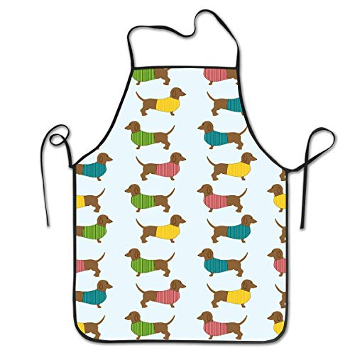 Dachshund Dog Puppy Background Aprons Bib Adult Lace Adjustable Polyester Chef Cooking Long Full Küchenschürzen (Elf Store Nyc)