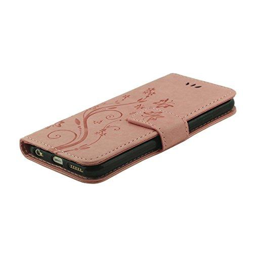 Custodia Cover Pelle per iPhone 6 Plus 6S Plus, Multi Function Folio Flip Case, Fiore Grano Modello Serie, Portafoglio Supporto Caratteristica, Cabina telefonica Cover protettiva - Nero Rosa