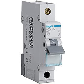 Hager MTN132 Miniature Circuit Breaker, 1 Pole, 1 Module, Type B, 6 kA Breaking Capacity, 32 A Current