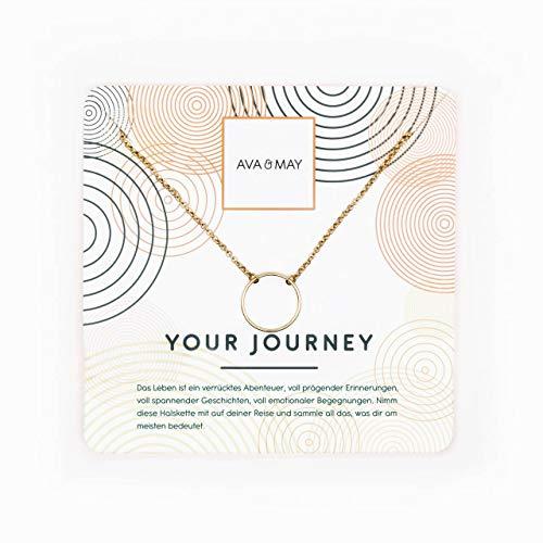 AVA & MAY Your Journey Halskette ✮ Feine Goldkette mit Ring Anhänger - Länge 76 + 5 cm