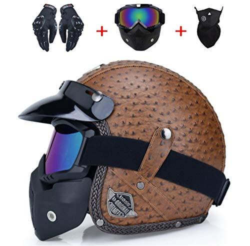DUBAOBAO Retro Harley Motorrad Elektroauto 4-Jahreszeiten-Helm, Sonnenschutzhelm für Elektroautos, Helmbrille Handschuhe 4er-Set, abnehmbare und waschbare Ohrenschützer,1,L -