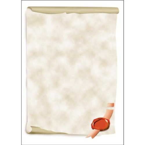 Sigel DP521 Papier à lettres, 21 x 29,7 cm, 185g/m², Parchemin, gris et rouge, 12 feuilles