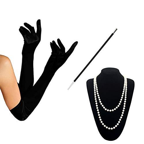 KQueenStar Damen Accessoires Set Halskette Handschuhe Zigarettenhalter Stirnband 20er Jahre 1920s Charleston Gatsby Retro Stil Kostüm Ball (Set ()