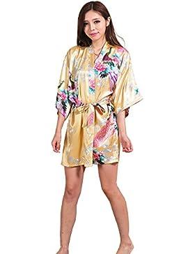 GL&G Abito da sposa Abiti da sposa accappatoio da bagno in raso di kimono da donna di seta Pigiami comodi Accappatoio...