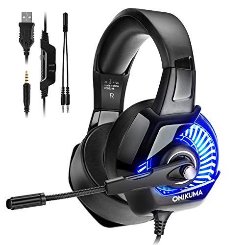 VANWALK Gaming Headset mit Mikrofon, 3,5 mm Gaming Kopfhörer mit Kabel für PS4, Xbox One, PC, Konsole usw., LED-Licht und Unisex (Treiber Hochtöner)